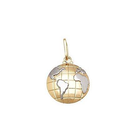 Pingente Mapa Mundi Com Ródio - Folheado A Ouro