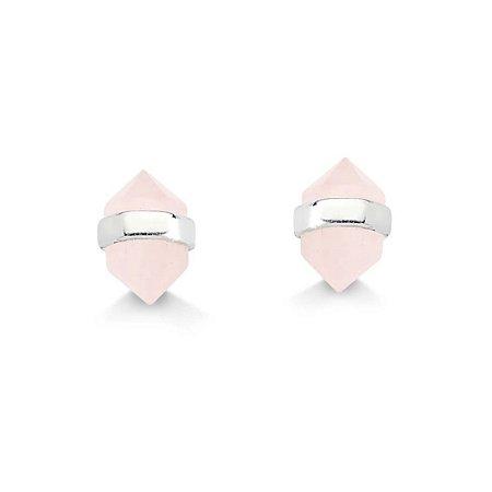 Brinco Cristal Quartzo Rosa - Prata 925