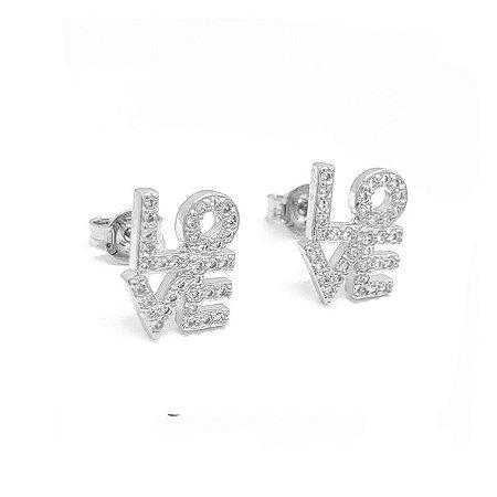 Brinco Love Cravejado - Prata 925