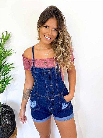 Jardineira Jeans Botões