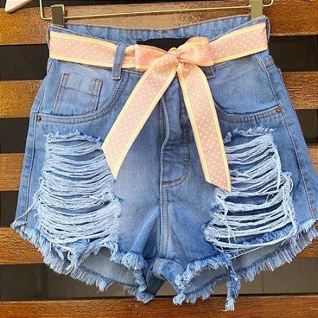 Short Jeans Destroyed Cintinho Poá