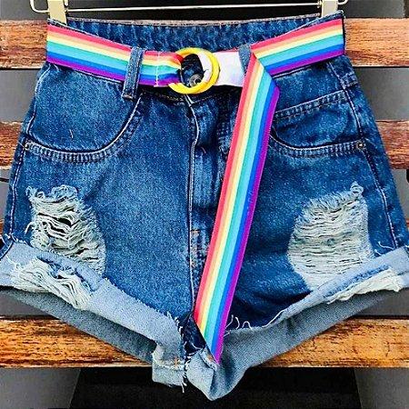 Short Jeans Cinto Arco Íris
