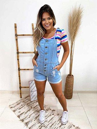 Jardineira Jeans Clear