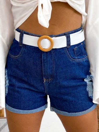 Short Jeans Cinto White