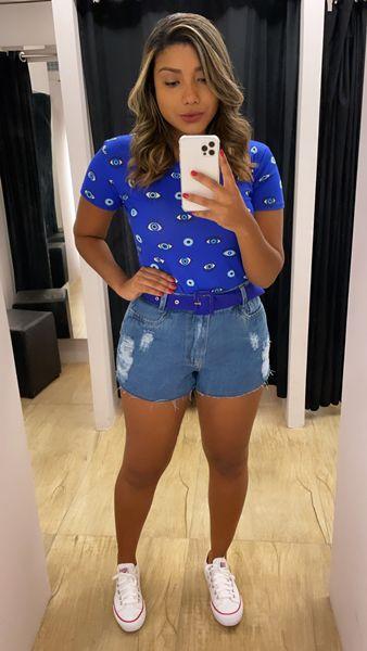 Short Jeans Cinto Roxo