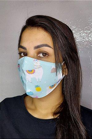 Máscara de Proteção Dupla Sublimada - Lhama, Arco-Íris e mais