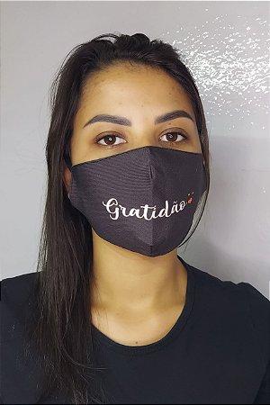 Máscara de Proteção Dupla Sublimada - Linha Religiosa - Gratidão
