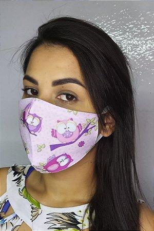 Máscara de Proteção Dupla Sublimada - Coruja
