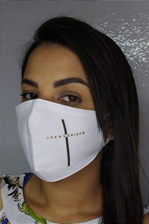 Máscara de Proteção Dupla Sublimada - Cruz Jesus Cristo