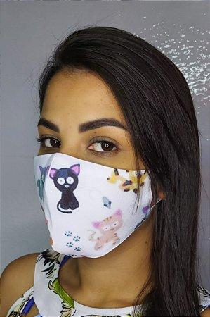 Máscara de Proteção Dupla Sublimada - Gatos