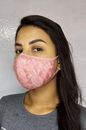 Máscara de Luxo Feminina Dupla - LINHA MAGNÍFICA - Rosa Claro de Renda