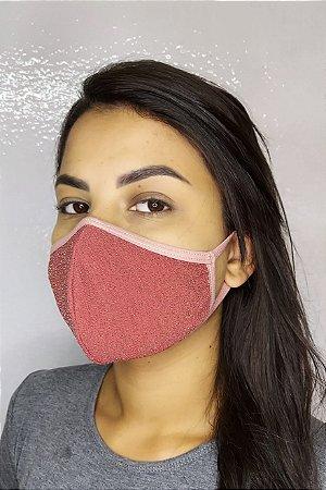 Máscara de Luxo Feminina Dupla - LINHA MAGNÍFICA - Rosa com Brilho