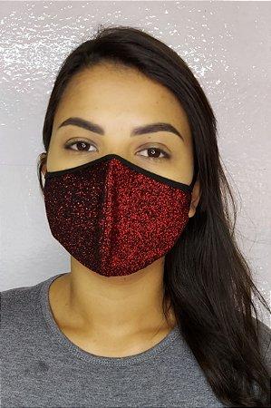 Máscara de Luxo Feminina Dupla - LINHA MAGNÍFICA - Preto com Vermelho Brilhante