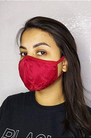 Máscara de Luxo Feminina Dupla - LINHA MAGNÍFICA - Jacquard Vermelho