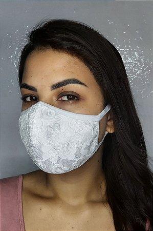 Máscara de Luxo Feminina Dupla - LINHA MAGNÍFICA - Branco com Renda