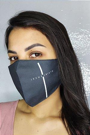 Máscara de Proteção Dupla Sublimada - Jesus Cristo Preta