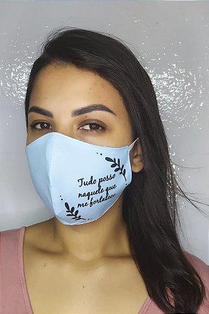 Máscara de Proteção Dupla Sublimada - Linha Religiosa - Tudo posso naquele que me fortalece