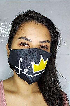 Máscara de Proteção Dupla Sublimada - Linha Religiosa - Fé com Coroa