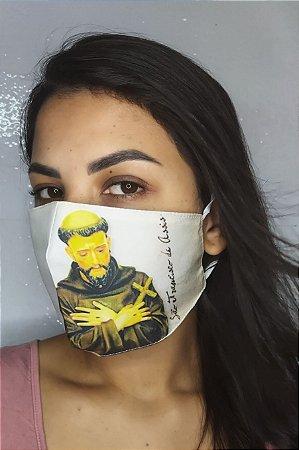Máscara de Proteção Dupla Sublimada - Linha Religiosa - São Francisco
