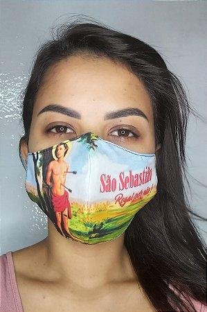 Máscara de Proteção Dupla Sublimada - Linha Religiosa - São Sebastião
