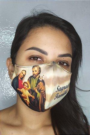 Máscara de Proteção Dupla Sublimada - Linha Religiosa - Sagrada Família