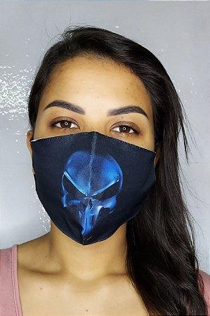 Máscara de Proteção Dupla Sublimada - Caveira Azul