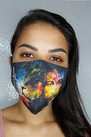 Máscara de Proteção Dupla Sublimada - Linha Religiosa - Fé com Cristo