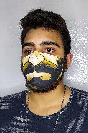 Máscara de Proteção Dupla Sublimada - Rosto com Barba