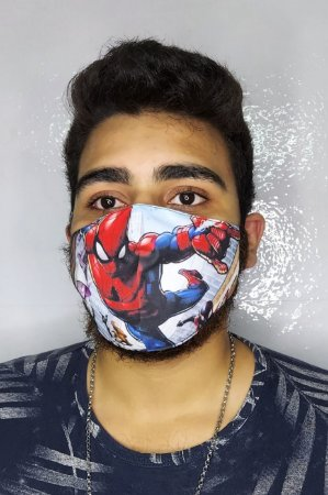 Máscara de Proteção Dupla Sublimada - Homem Aranha