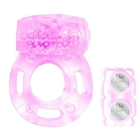 Anel Peniano com Vibrador em Formato de Borboleta - Rosa