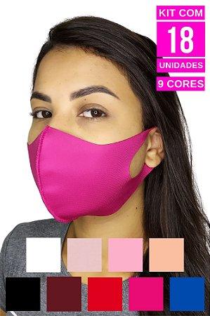 Kit com 18 Máscaras de Neoprenes Adulto - 9 cores - 2 Unidades de Cada Cor