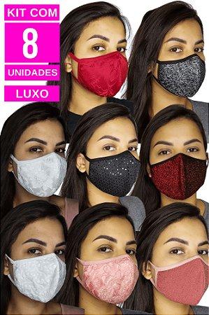 Kit com 8 Máscaras de Luxo Adulto - 8 Tecidos especiais