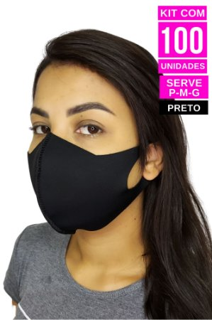 Kit com 100 Máscaras de Neoprenes Adulto - Preto