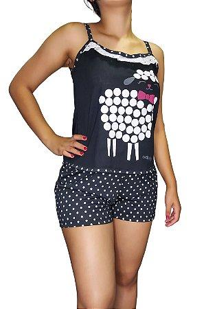 Short Doll de Alcinha - Preto com Ovelhinha