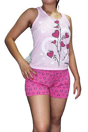 Short Doll Estampado Nadador - Rosa Claro com Corações