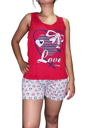 Short Doll Estampado Nadador - Vermelho com Coração