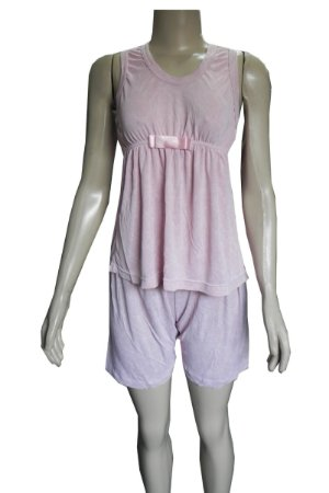 Pijama com Regata e Bermuda com Detalhes e Laço - Rosa Claro