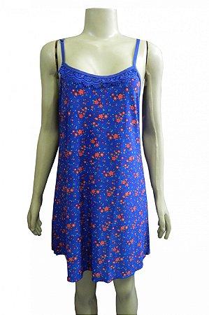 Camisola Estampada em Liganete - Azul com Flores