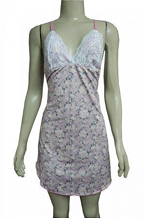 Camisola Liganete Estampada -  Rosa com Flores