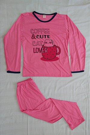 Pijama Feminino Longo Estampado - Rosa com Café e Gatinho