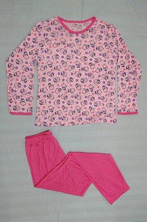 Pijama Feminino Longo Estampado - Rosa com Carneirinhos
