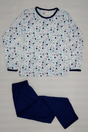 Pijama Plus Size Feminino Longo Estampado - Azul Claro com Pintinhos