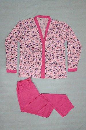 Pijama Feminino Estampado Longo de Botão - Rosa Claro com Carneirinhos