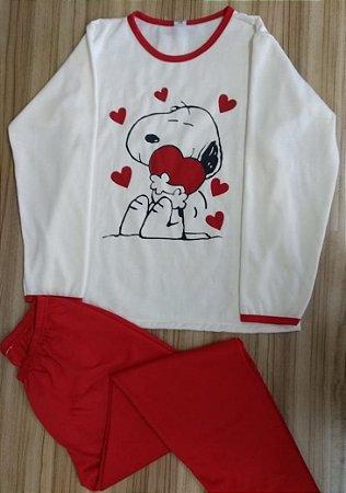 Pijama Feminino Longo Estampado - Nude com Snoopy e Coração Vermelho