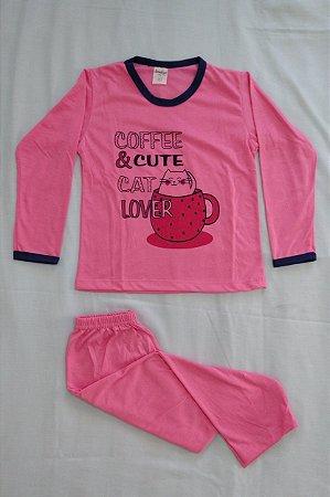Pijama Infantil Feminino Longo Estampado - Rosa com Café e Gatinho