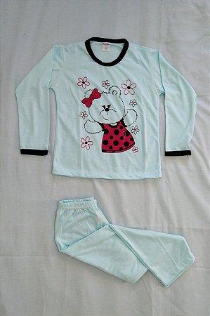 Pijama Infantil Feminino Longo Estampado - Azul Claro com Ursinha