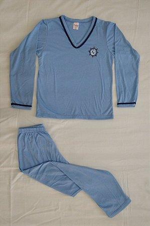 Pijama Infantil Masculino Longo e Gola V - Azul Claro com Detalhes em Azul Marinho e Âncora Bordada