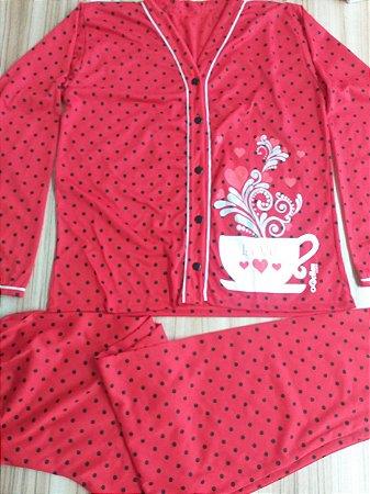 Pijama Feminino Longo Estampado de Botão - Vermelho Poá com Café e Corações