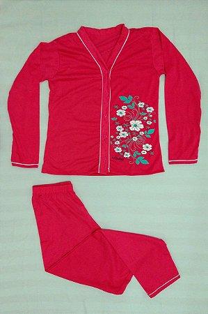 Pijama Feminino Longo Estampado de Botão - Rosa Pink com Flores Brancas