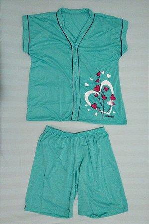 Pijama Pescador Estampado de Botão - Verde Claro com Corações